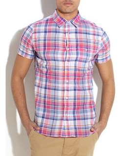 Blue (Blue) Blue and Pink Checked Shirt  248142240  New Look