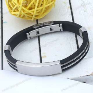 Mens Silver Stainless Steel Cord Black Rubber Bracelet 7L Cuff