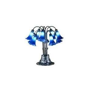 Blue Lilies Ten Light Table Lamp 22 H Meyda 14397