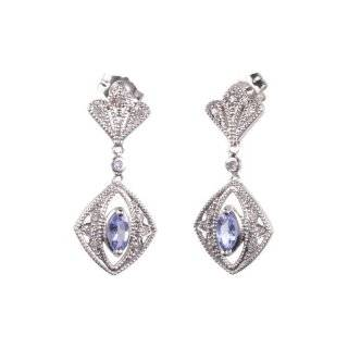 10k White Gold Tanzanite and Diamond Leverback Earrings (0