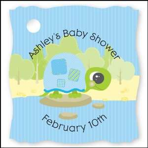 Blue Baby Turtle   20 Personalized Baby Shower Die Cut Card Stock Tags