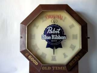 Vintage Pabst Blue Ribbon Beer Lighted Clock Sign