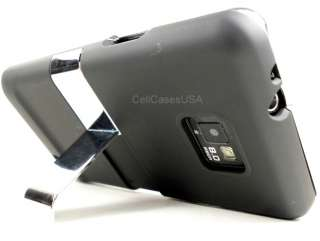 FOR SAMSUNG GALAXY S2 i9100 CHROME STAND BLACK HARD COVER CASE