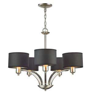 Hampton Bay 5 Light Brushed Nickel Chandelier with Black Paper Shades
