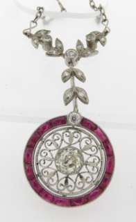 Antique Art Deco Diamonds Ruby Platinum Necklace