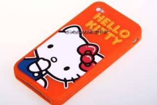 Hello Kitty Orange Silicone Case Cover for iPhone 4 4G