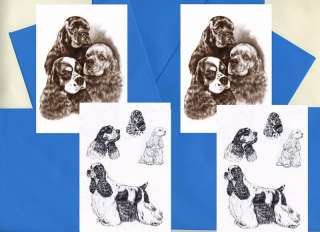 AMERICAN COCKER SPANIEL DOG PRINT GREETINGS NOTE CARDS
