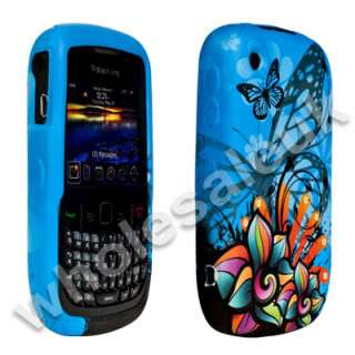 BLUE FLORAL GEL CASE COVER FOR BLACKBERRY 8520 CURVE