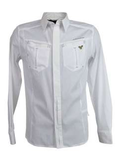 Mens Voi Jeans Long Sleeved Shirt Attorney White with V Logo