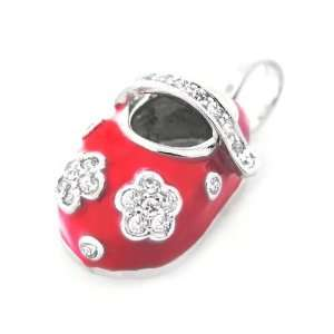 Bling Jewelry Sterling Silver Red Enamel Flower CZ Baby Shoe Pendant