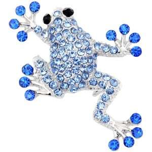 Sapphire Blue Frog Pins Austrian Crystal Animal Pin Brooch Jewelry