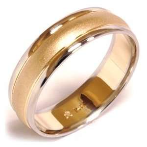 Dome Style Mens Solid 14 K White Yellow Gold Wedding Ring Brushed Band