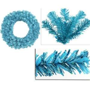 Sparkling Artificial Christmas Wreath   Teal Lights