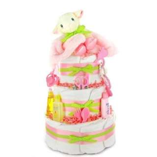 Little Lamb New Baby Girl Diaper Cake   Great Baby Shower