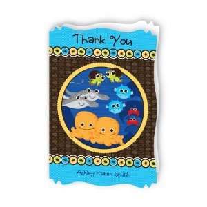 Sea Critters   Personalized Baby Thank You Cards With Squiggle Shape