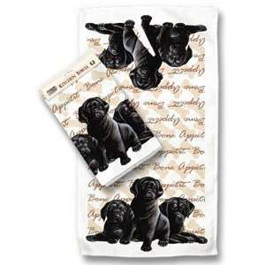 Black Labrador Retriever Dog   Kitchen Towel Office