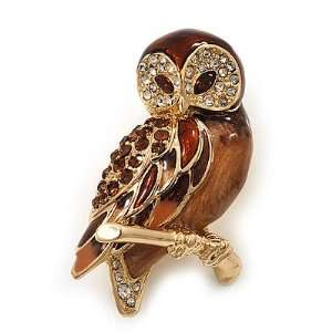 Brown Crystal Owl Brooch In Gold Plated Metal Jewelry
