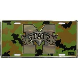 Mississippi State Camo NCAA Chrome Tin License Plate