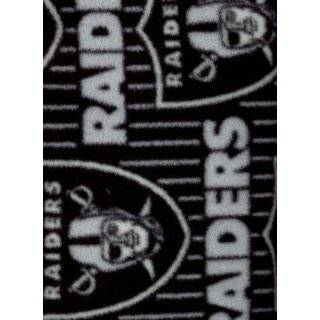 NFL Oakland Raiders Liq. Football Print Fleece Fabric By the Yard