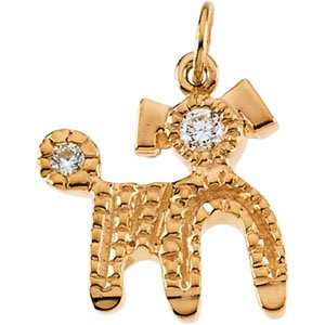 Deco Dog 14K Yellow Gold Cubic Zirconia Deco Dog Jewelry