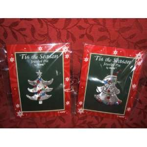 Jeweled Pewter Christmas Pins ~ Set of 2 ~ Santa + Christmas Tree