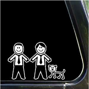 Two males and a dog Stick People Family Car Decals
