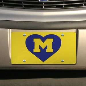 Wolverines Maize Mirrored Heart License Plate