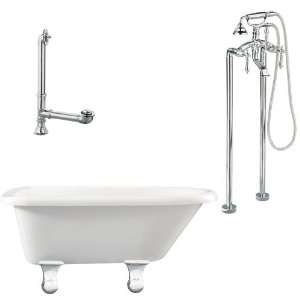 Floor Mount Faucet With Hand Shower And Lever Handles, Polished Chrome