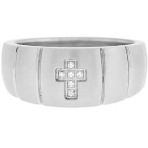 11   Inox Jewelry Mens cz Cross 316L Stainless Steel Ring Jewelry