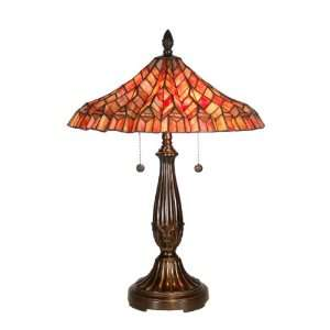Tiffany TT60753 Red Lotus Table Lamp, Fieldstone and Art Glass Shade