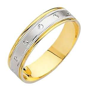 Yellow and White Two Tone Gold Satin Engraved Designer Wedding Band