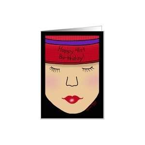 Red Hat Lady Face Birthday 41st Card  Toys & Games