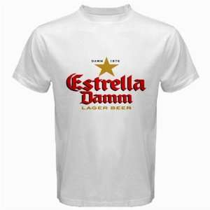 Estrella Damm Beer Logo New White T shirt Size 3XL