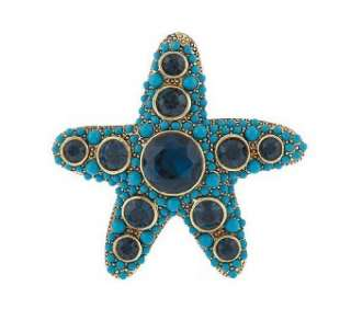 KJL Kenneth Jay Lane Turquoise & Saphire Starfish Pin