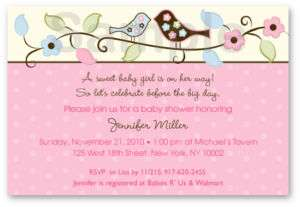 Love Bird Flower Baby Shower Invitation Print Your Own