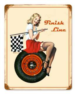 Finish Line very nice racing metal sign w/pin up girl